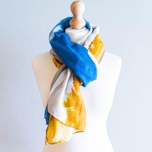 Sjaal oker - blauw 201001-6